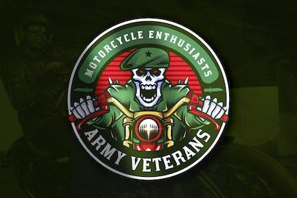 Soldier Skull Biker Emblem Logo
