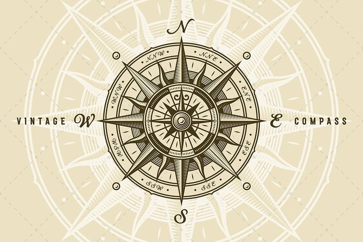 Thumbnail for Vintage Nautical Compass Rose