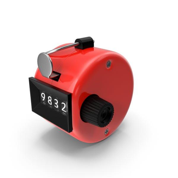 Contador mecánico de mano, color rojo