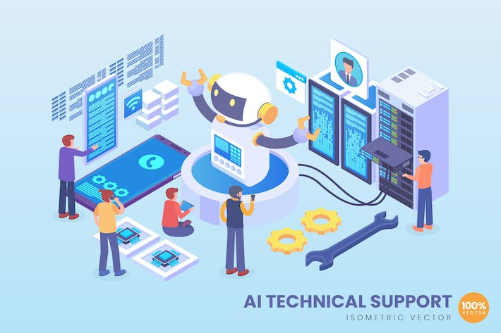 Thumbnail for Isometric Artificial Intelligence Tech Support