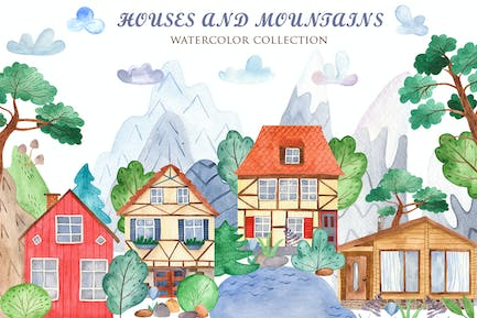 Watercolor Houses and mountains