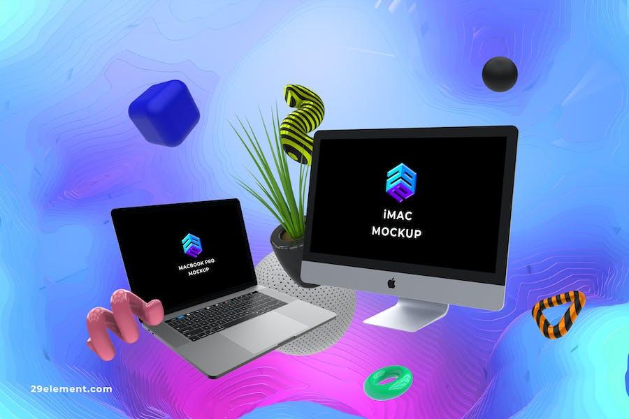 iMac Macbook Pro Web Mockup - MK