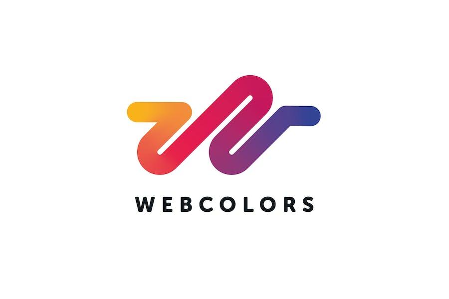 Web Colors Logo W Letter Template