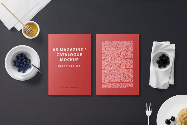 Thumbnail for A5 Magazine Catalogue Mockup - Breakfast Set