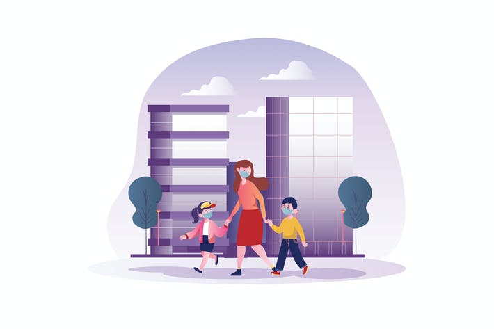 Thumbnail for Mom and children with mask walking on street