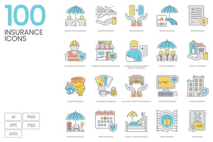 100 Insurance Color Line Icons