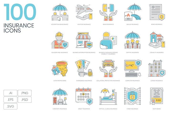 Thumbnail for 100 Íconos de línea de color de seguros