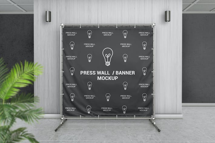 Thumbnail for Square Press Wall / Stand Banner Mockup