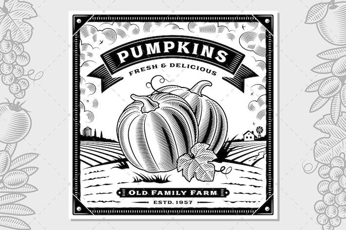 Thumbnail for Retro Pumpkin Harvest Label With Landscape