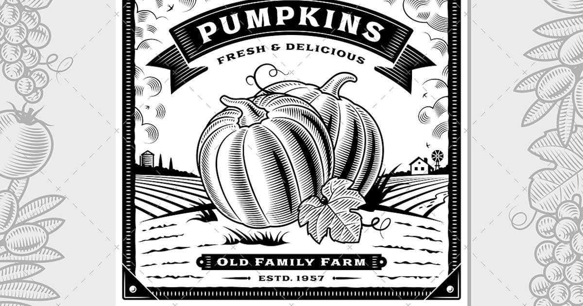 Download Retro Pumpkin Harvest Label With Landscape by iatsun