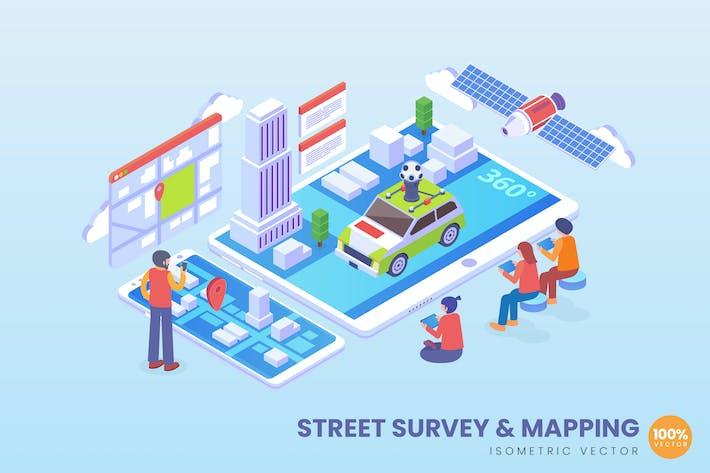 Thumbnail for Изометрическая концепция уличной съемки и картографирования Вектор данных