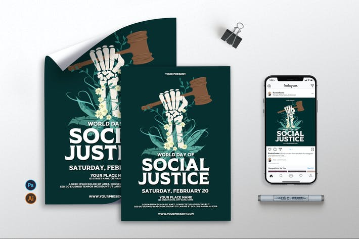 World Day of Social Justice - Flyer, Poster AS
