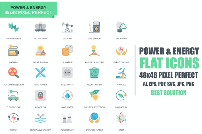 Cover Image For Simple Set Power Industry and Energy Flat Icons