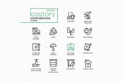 Home services - line design style icons set