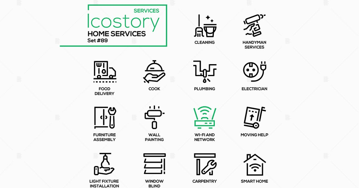 Download Home services - line design style icons set by BoykoPictures