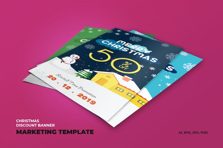 Thumbnail for Christmas Discount Banner Marketing Template