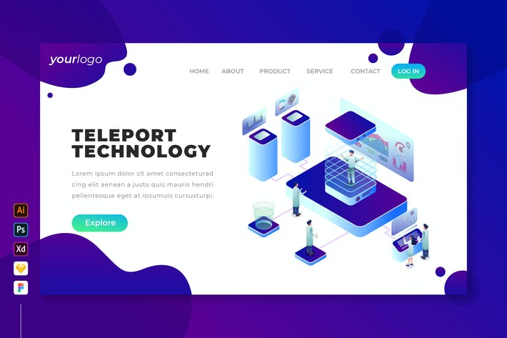 Thumbnail for Teleport Technology - Isometric Landing Page