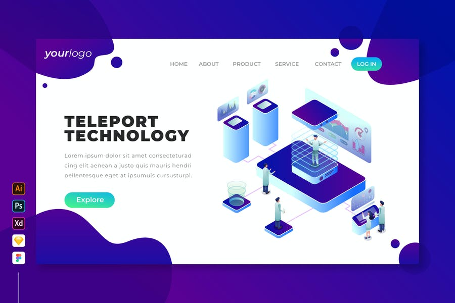 Teleport Technology - Isometric Landing Page