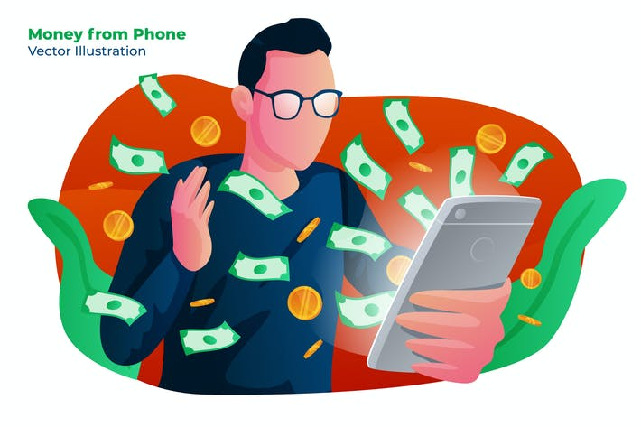 Thumbnail for Money Phone - Vector Illustration