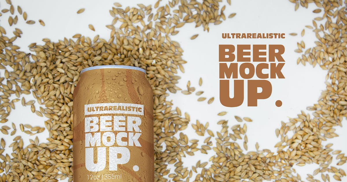 Download 12oz Malt Beer Can Logo Mockup by SmartDesigns_eu