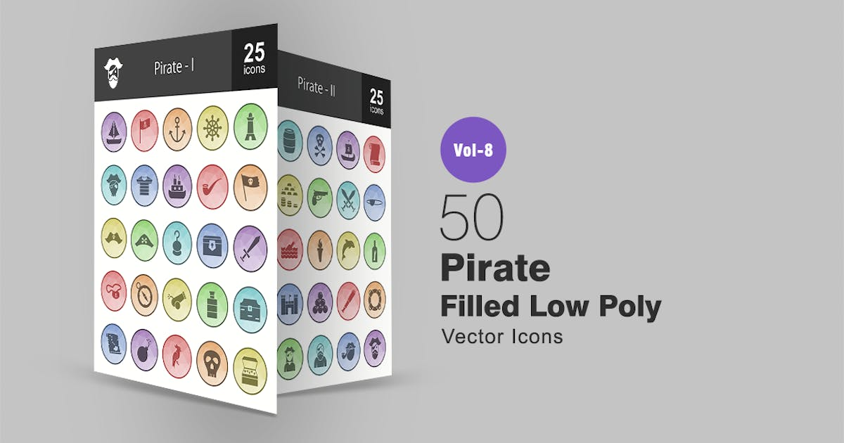 50 Pirate Filled Low Poly Icons by IconBunny