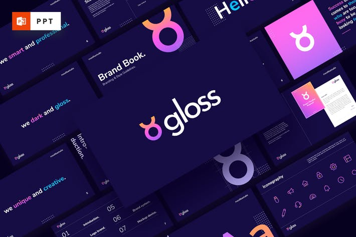 Thumbnail for GLOSS - Темный фирменный стиль Powerpoint Шаблон