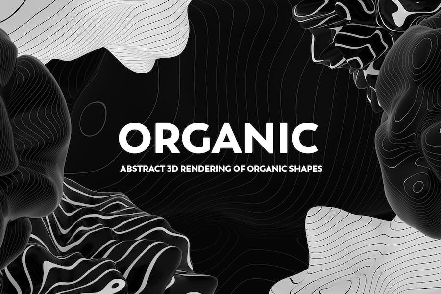 Abstrakte 3D Darstellung organischer Formen - S/W