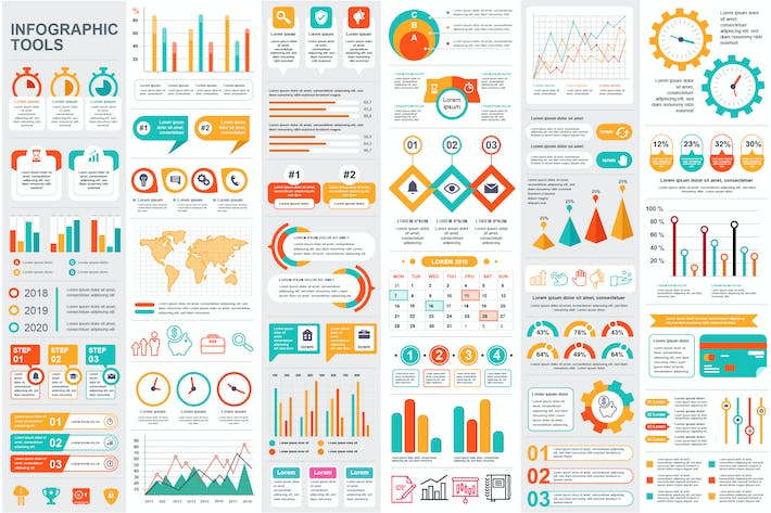 Thumbnail for Collection Infographic Elements Template Graphics