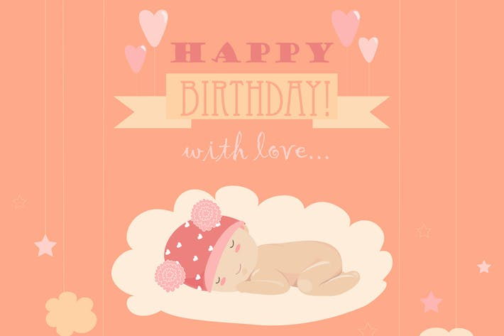 Cover Image For Baby theme. It s a girl card