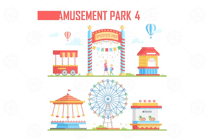 Thumbnail for Amusement park - vector set of elements