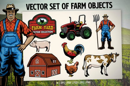 vector set of farm objects