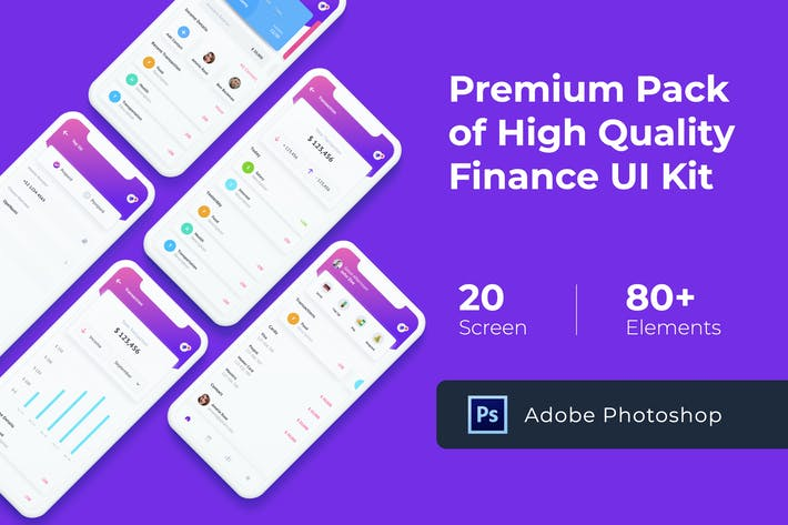 Cover Image For Finance Mobile UI KIT for Photoshop