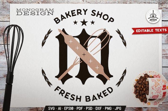 Пекарня Монограмма BadgeTemplate с кухонной посуды