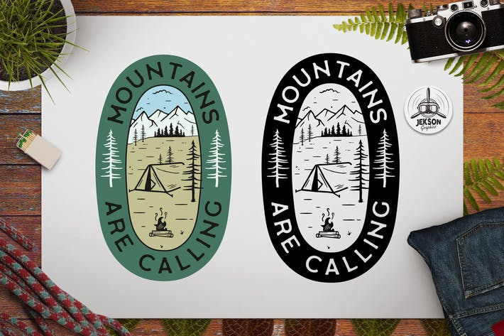 Mountains Calling Logo Retro Camping Badge TShirt