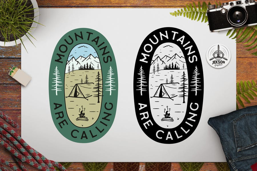Mountains Calling Logo Retro Camping Badge TShirt