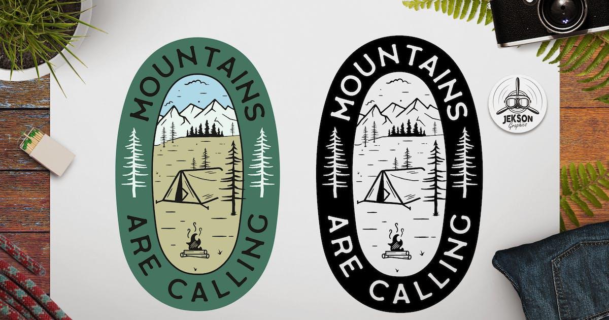 Download Mountains Calling Logo Retro Camping Badge TShirt by JeksonJS