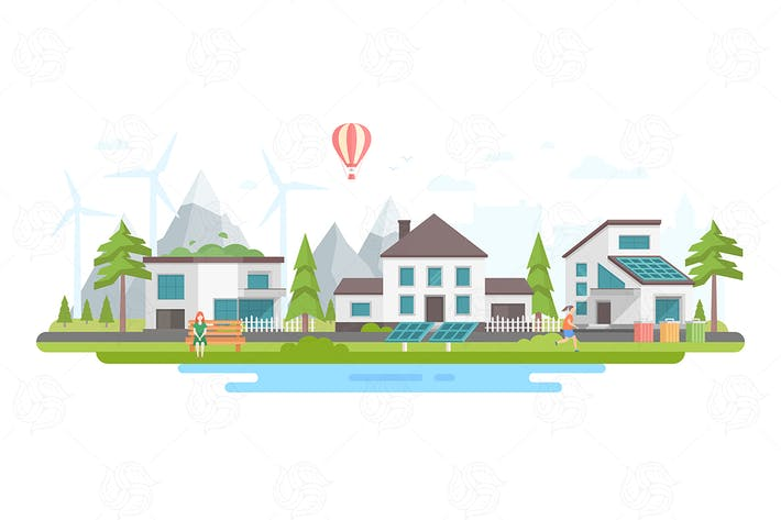 Thumbnail for Eco-friendly district - flat design illustration