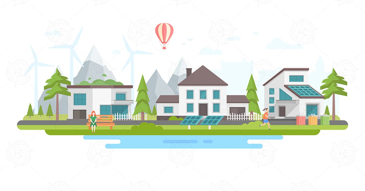 Download Eco-friendly district - flat design illustration by BoykoPictures