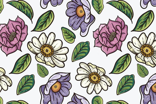 vintage vector pattern of flowers and leaves