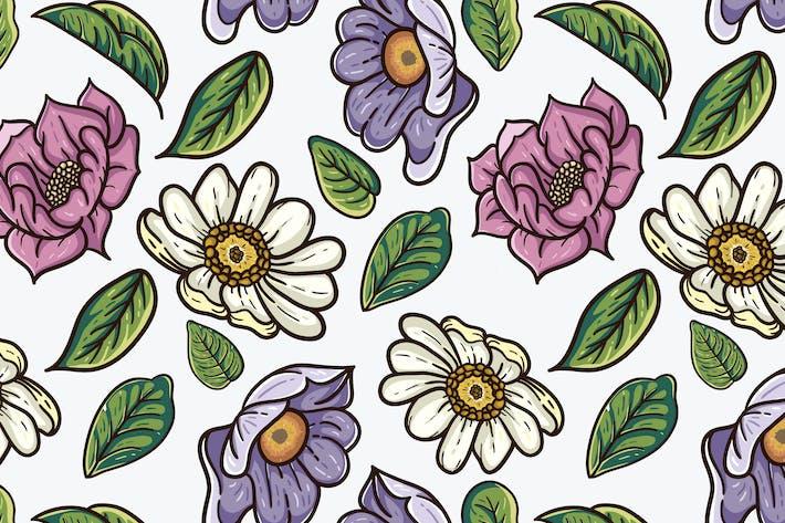 Thumbnail for motif vecteur vintage de fleurs et de feuilles