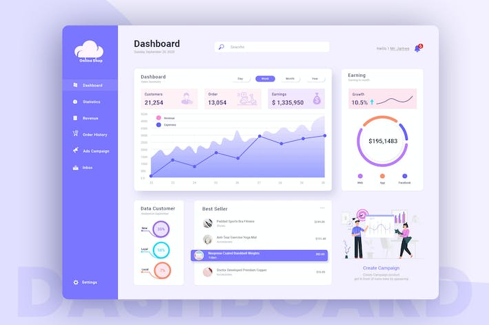 Thumbnail for Online Shop Admin Dashboard UI Kit