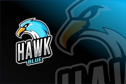 Hawk Blue Esport Logo Template