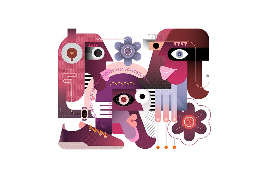 вектор иллюстрация «Три человека»