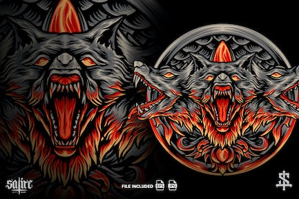 The Cerberus Mythology With Ornaments