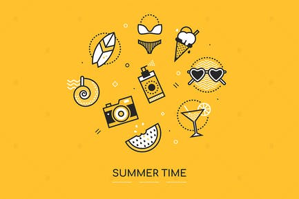 Summer Time - Line Design Style Poster