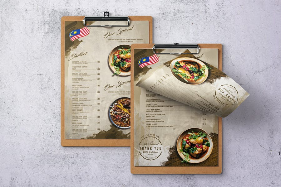 Malaysian Cuisine Single Page A4 & US Letter Menu