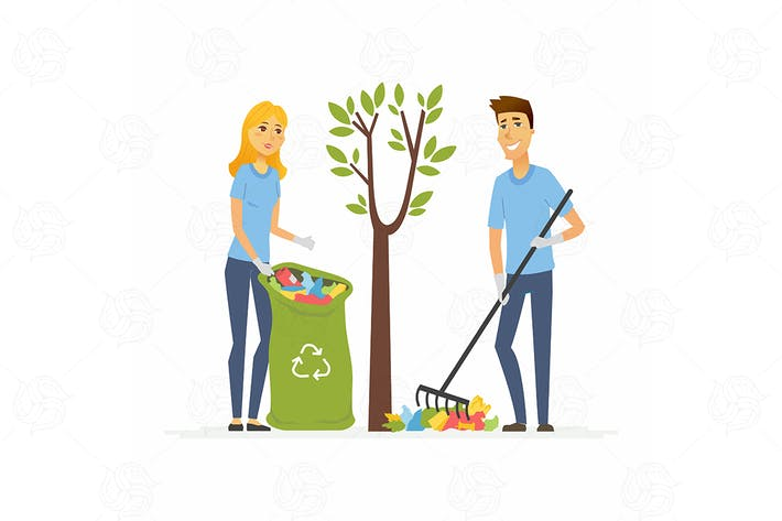 Thumbnail for Volunteers collect garbage - vector illustration