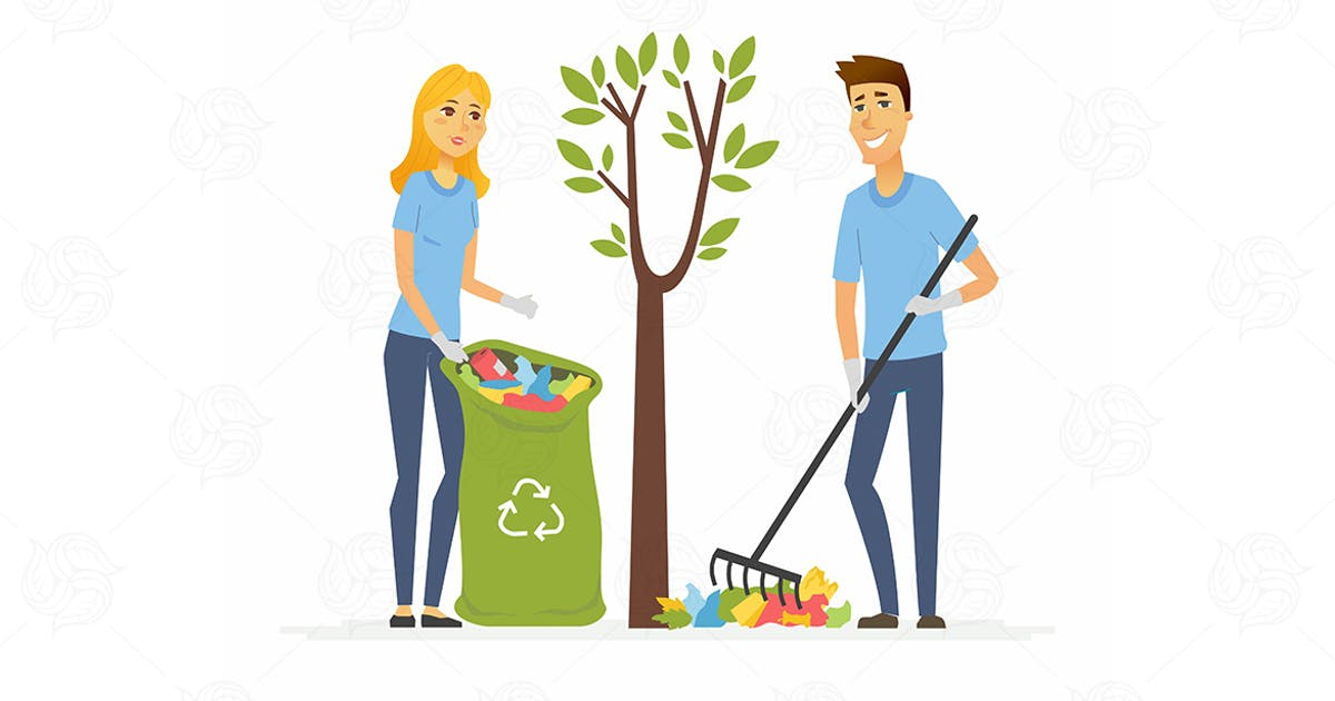 Download Volunteers collect garbage - vector illustration by BoykoPictures