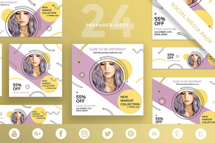 Thumbnail for Makeup Cosmetics Social Media Pack Template