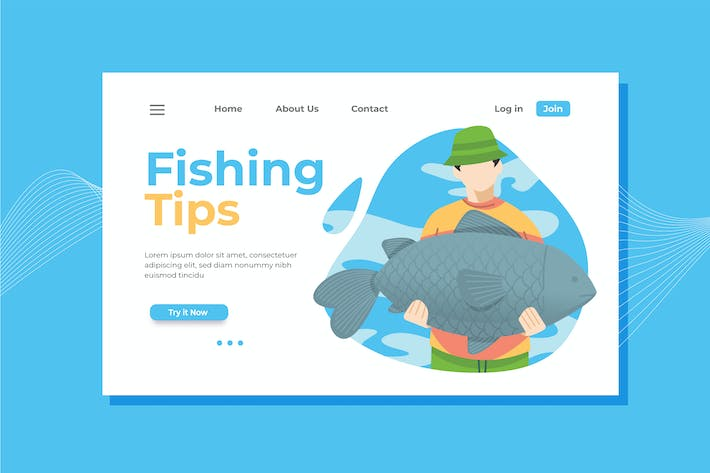 Thumbnail for Fishing Landing Page Illustration